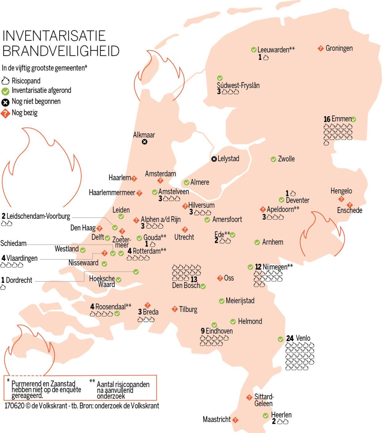 kaart van nederland met risicopanden